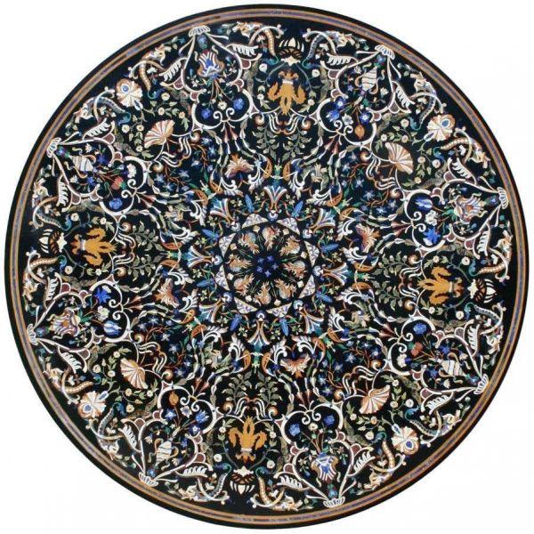Pietre Dure italiano Piedras semipreciosas incrustadas en mosaico de mármol negro