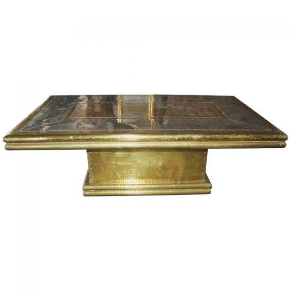 Latón dorado de dos tonos en la mesa de café de diseño de madera de la década de 1970