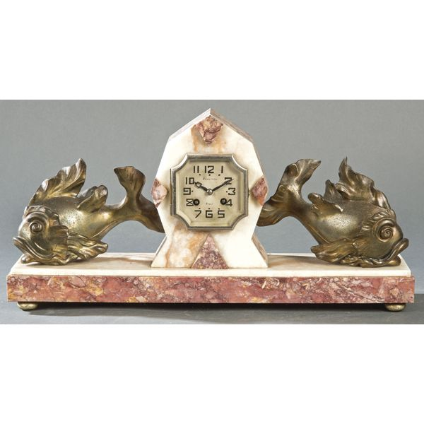 Reloj de sobremesa con peces de bronce, Feunteun Brest, Art Decó