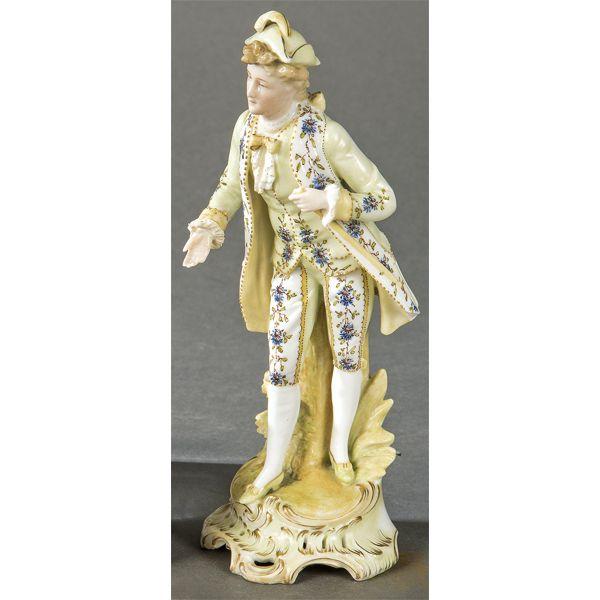 Figura de caballero de porcelana Derby, siglo XIX