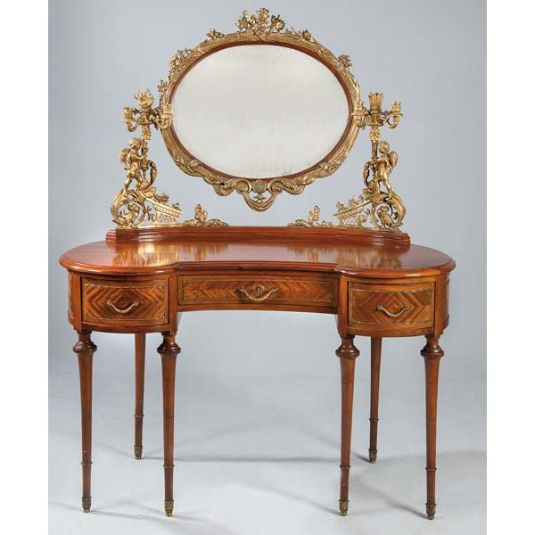 Mesa tocador de riñón con espejo, principios del siglo XX.
