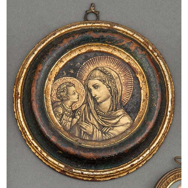 Virgen con niño pintada bajo cristal S. XIX