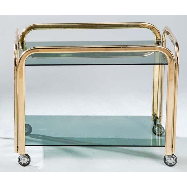 Carrito de metal dorado y cristal español, años 70