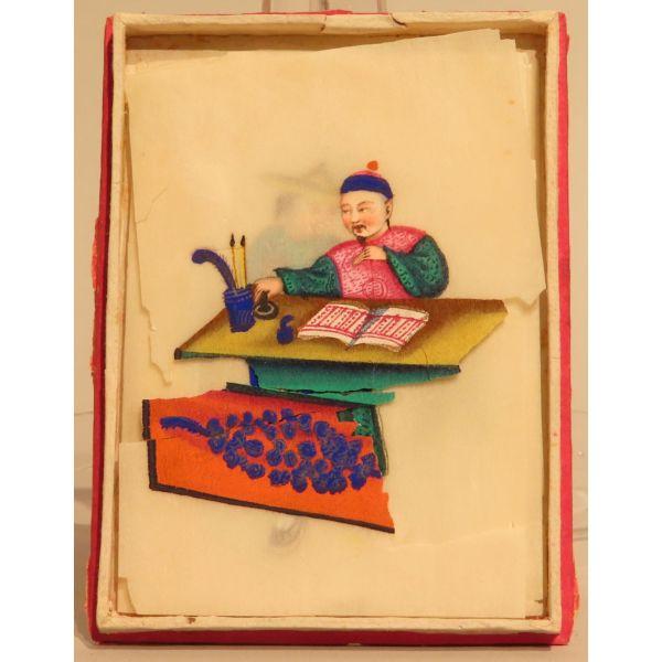 Acuarela sobre papel de arroz escenas costumbristas chinas con caja original Cantón China siglo XIX