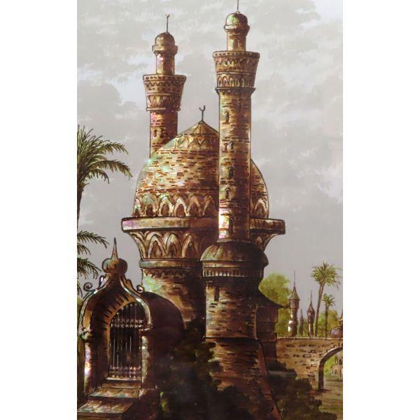 Cristal pintado con escena orientalista firmado G.Alexandre siglo XIX