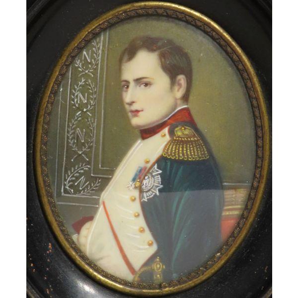 Miniatura al óleo Napoleón en su gabinete de trabajo, segunda mitad siglo XIX