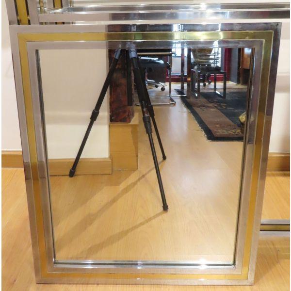 Espejo en acero cromado siguiendo modelos del diseñador italiano Willy Rizzo años 60