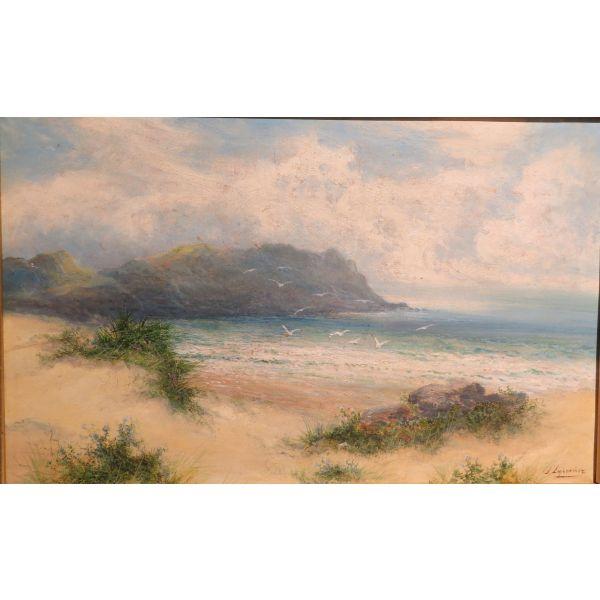 Oleo sobre tabla Marina firmado José Lupiañez y Carrasco (1864-1933)