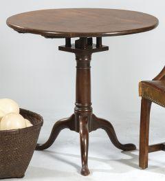 12-Mesa auxiliar redonda en madera de caoba victoriana, Inglaterra S. XIX
