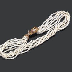 Collar perlas con broche dragón