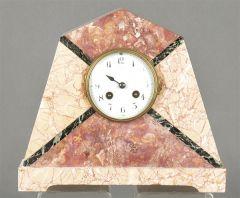 Reloj de sobremesa de mármol rosa Decó, Francia h. 1930