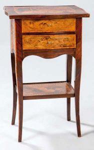 Mesilla de palosanto y marquetería de maderas finas italiana, h. 1900