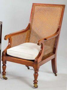 Butaca de caoba y rejilla inglesa, siglo XIX