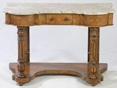Cónsola victoriana en madera de caoba tallada con tapa de mármol blanco. Inglaterra, mediados S. XIX