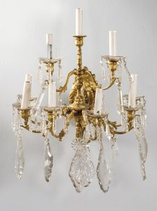 Aplique de pared en bronce dorado y cristal del siglo XIX