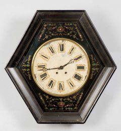 Reloj de pared de madera ebonizada español, segunda mitad del siglo XX