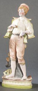 Figura de niño en biscuit policromado, inglesa, años 30