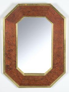 Espejo ochavado en madera de raiz y latón estilo Willy Rizzo, años 70.