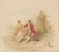 ESCUELA FRANCESA S. XIX - Escenas galantes