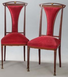 Pareja de sillas de caoba modernistas, h. 1900